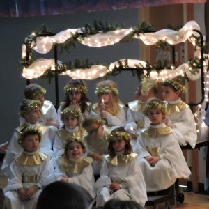 The Kindergartners were the angels in this year's Christmas play--Holiday in Bethlehem