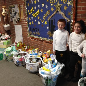 Helpers lined up all our donations for Daystar.