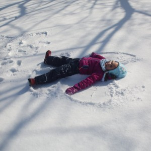 Making snow angels was such a fun activity.