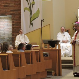 The Bishop talked to the students directly during his homily.