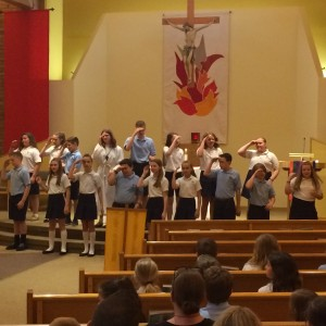 The 6th graders at the start of the meditational liturgical dance.