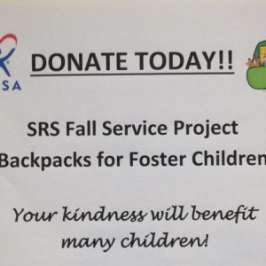 Backpacks for Foster Children was our Fall Service project.