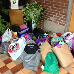 Just some of the many items collected for our Fall Service project.