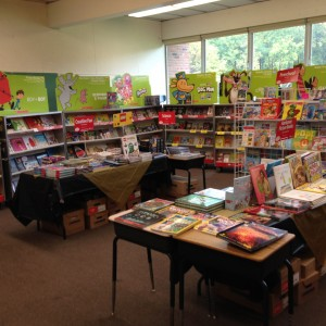 The Fall Book Fair all ready for the students to arrive.