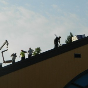 To add to the day's excitement they started the new roof on the Parish Center.