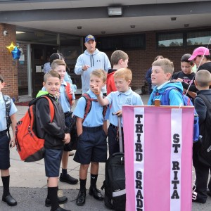 The 3rd grade boys watching all the mornings' activities.