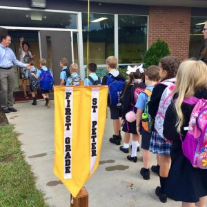 The 1st graders headed for the classroom.