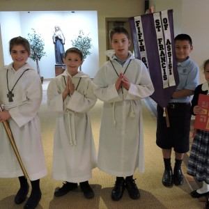 Waiting for Father to process in for the opening school liturgy.