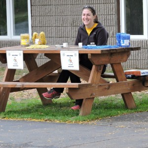 Waiting to check students in.