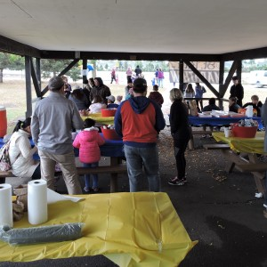 Everyone meets & visits in the pavilion.