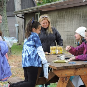 Getting her card stamped.