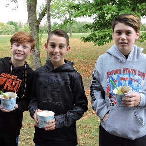 Having some Yolicky after walking even though it was cold out.