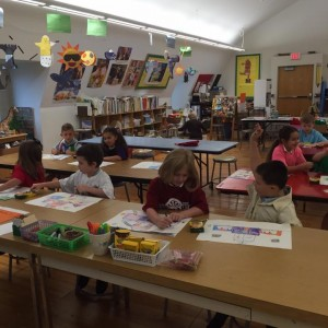The 1st graders hard at work in Art class