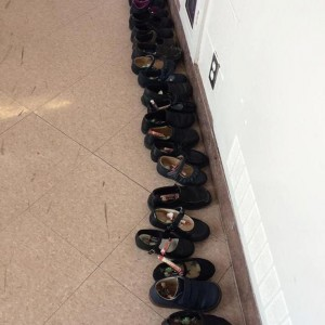 Saint Nick visited the school and filled the Kindergartners' shoes.
