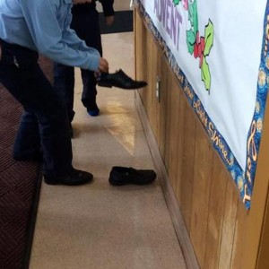The 2nd grader found that their shoes also contained treats from St. Nick