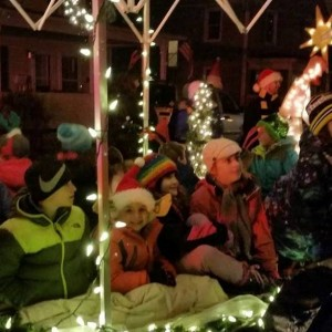 Students had fun riding on the float.
