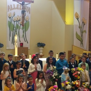 The May Day Court and 2nd graders.