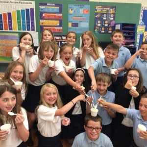 Enjoying ice cream on the feast of St. Rita.